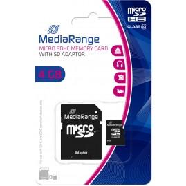 MediaRange SD MicroSD Card 4GB SD CL.10