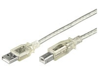MicroConnect USB2.0 A-B 1m M-M Transparent
