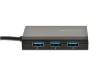 MicroConnect USB3.0 to Ethernet+3hub, Black
