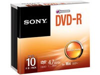 Sony DVD-R, 16X SLIM CASE, 10 PACK