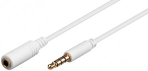 MicroConnect 3.5mm 4-pin 1.5m M-F White