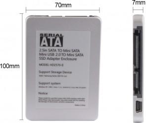 "MicroStorage Mini SATA mSATA SSD to 2.5\"""