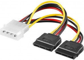 MicroConnect SATA Power 4pin-2x15pin 0,13m