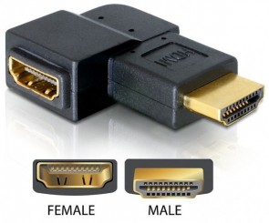 Delock HDMI A->A 90? right-Ang. ma/fe