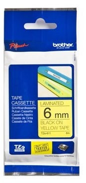 Brother Tape Black on Yellow 6mm