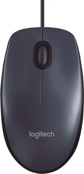 Logitech M100, Corded mouse, Black